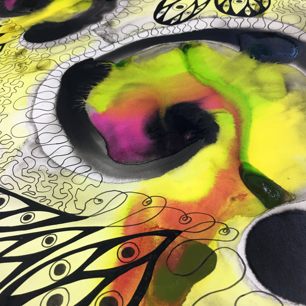 Original Abstract Ink Study Protective Eye Artwork - Yellow, Lime Green, Pink Colours