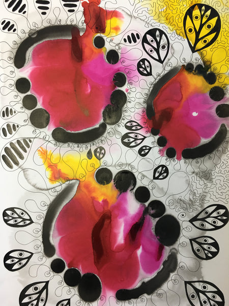Original Abstract Ink Study Protective Eye Artwork - Yellow, Pink, Red Colours