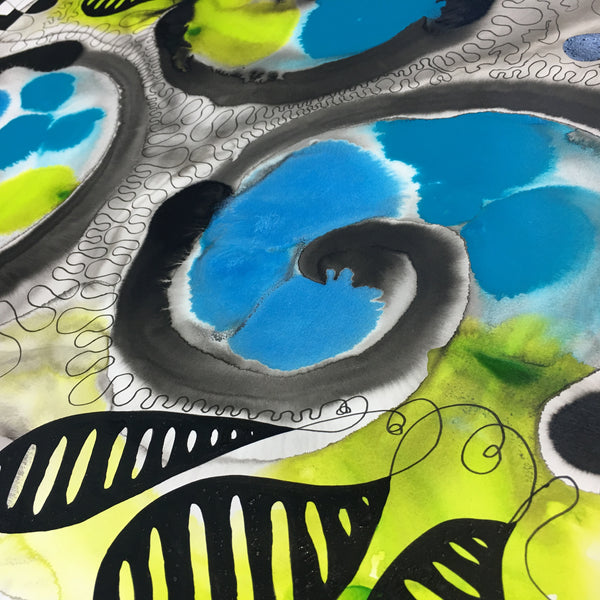 Original Pure Abstract Patterns Ink Study Artwork - Lime Green, Light Metallic Blue, Medium Blue Colours