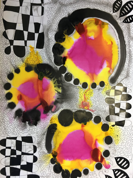 Original Pure Abstract Patterns Ink Study Artwork - Yellow, Magenta Pink Colours