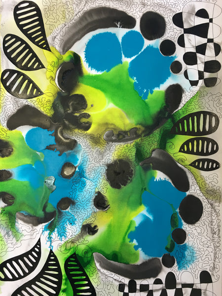 Original Pure Abstract Patterns Ink Study Artwork - Lime Green, Light Blue, Medium Blue Colours