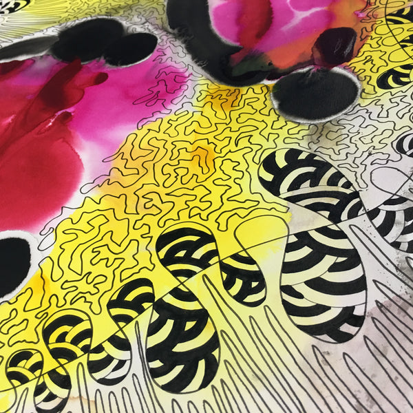 Original Pure Abstract Patterns Ink Study Artwork - Yellow, Pink, Red Colours