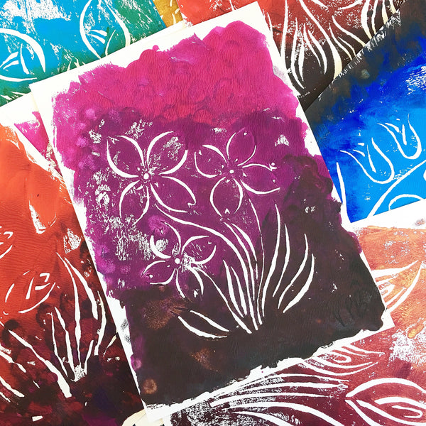 Original Handmade Floral Colourful Screenprint Flower Artwork - Coral, Crimson, Fuchsia, Umber Lily of the Valley