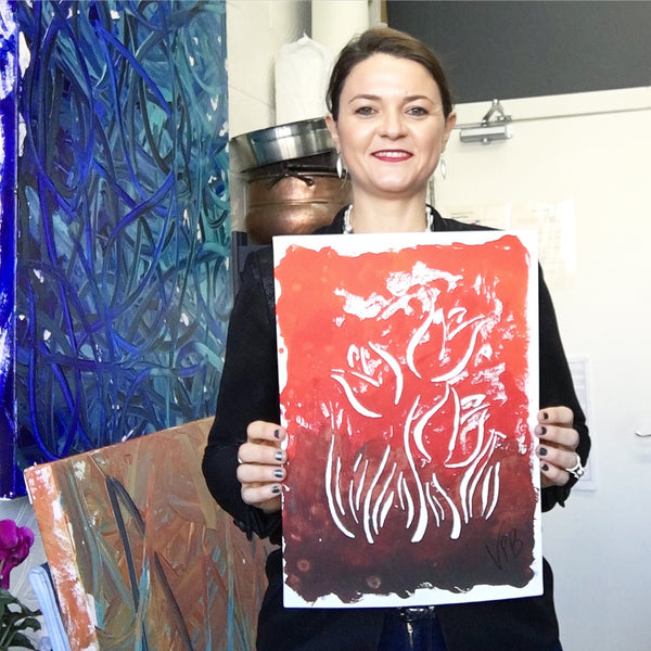 Original Handmade Floral Colourful Screenprint Flower Artwork - Coral, Red, Umber and Sienna Tulips