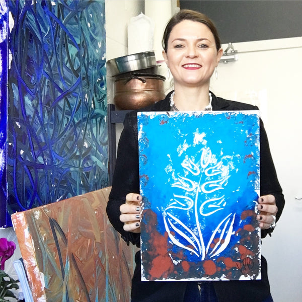 Original Handmade Floral Colourful Screenprint Flower Artwork - Light Blue, Medium Blue, Dark Blue, Sienna Hyacinth