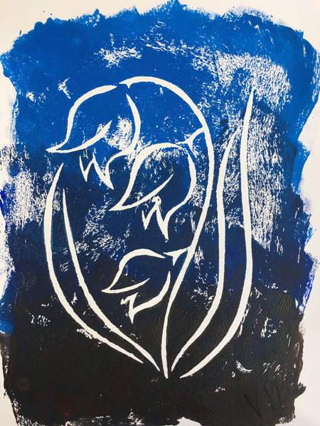 Original Handmade Floral Colourful Screenprint Flower Artwork - Light Blue, Dark Blue and Umber Bluebells