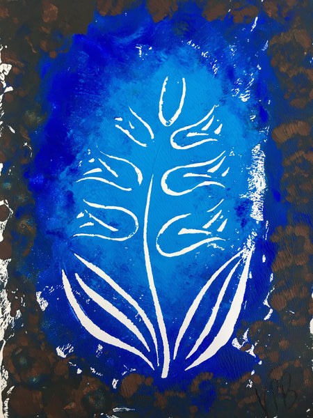 Original Handmade Floral Colourful Screenprint Flower Artwork - Light Blue, Dark Blue, Umber and Grey Hyacinth