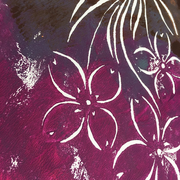 Original Handmade Floral Colourful Screenprint Flower Artwork - Pink, Purple, Grey, Umber Bunchberry