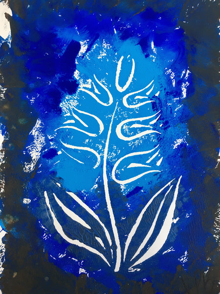 Original Handmade Floral Colourful Screenprint Flower Artwork - Light Blue, Medium Blue, Dark Blue Hyacinth