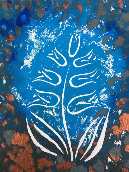 Original Handmade Floral Colourful Screenprint Flower Artwork - Light Blue, Dark Blue, Grey, Sienna Hyacinth