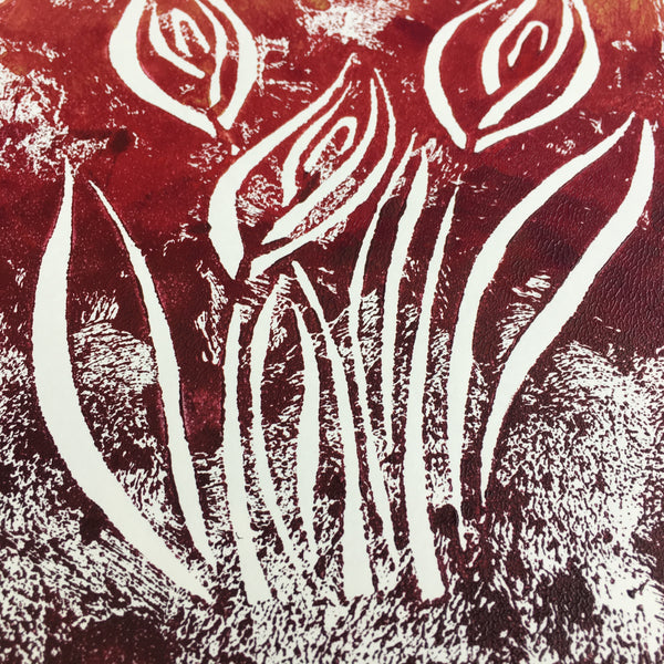 Original Handmade Floral Colourful Screenprint Flower Artwork - Gold, Red, Burgundy Calla Lilies