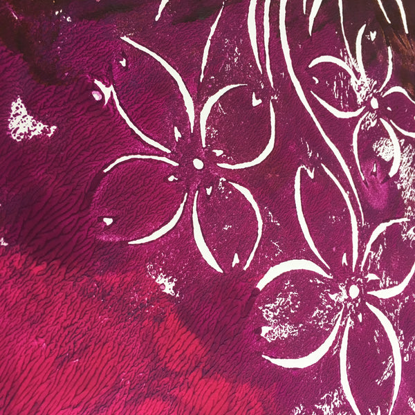 Original Handmade Floral Colourful Screenprint Flower Artwork - Pink, Purple, Fuchsia, Brown Bunchberry