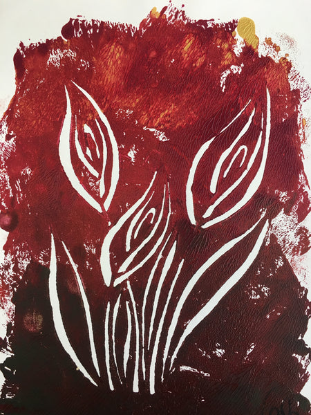 Original Handmade Floral Colourful Screenprint Flower Artwork - Red, Burgundy, Umber, Gold Calla Lilies