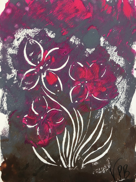 Original Handmade Floral Colourful Screenprint Flower Artwork - Pink, Grey, Magenta, Umber Bunchberry