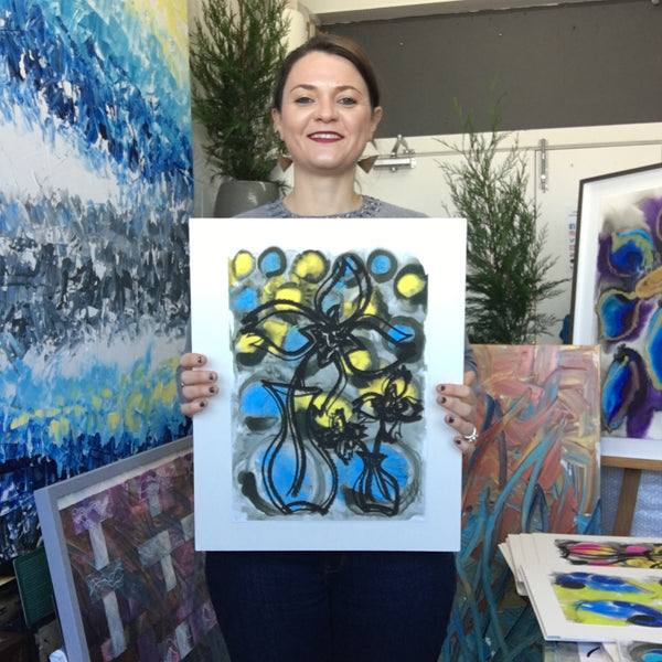 Limited Edition Fine Art Giclee Print Artwork - Bright Yellow, Bright Blue Colours Floral Design