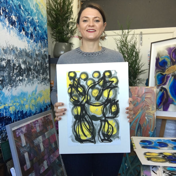 Limited Edition Fine Art Giclee Print Artwork - Light Yellow, Deep Golden Yellow Floral Design