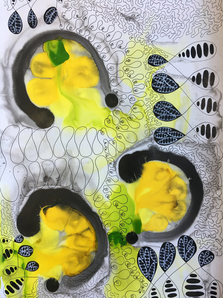 Original Abstract Ink Study Leaf Shape Artwork - Yellow, Lime Green Colours