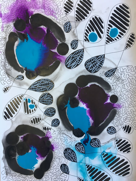 Original Abstract Ink Study Leaf Shape Artwork - Medium Light Blue, Purple Colours