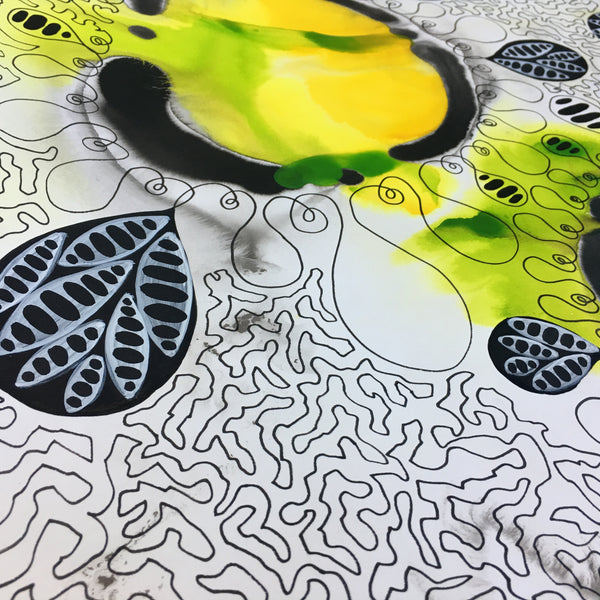 Original Abstract Ink Study Leaf Shape Artwork - Light Lemon Yellow, Deep Golden Yellow, Lime Green Colours