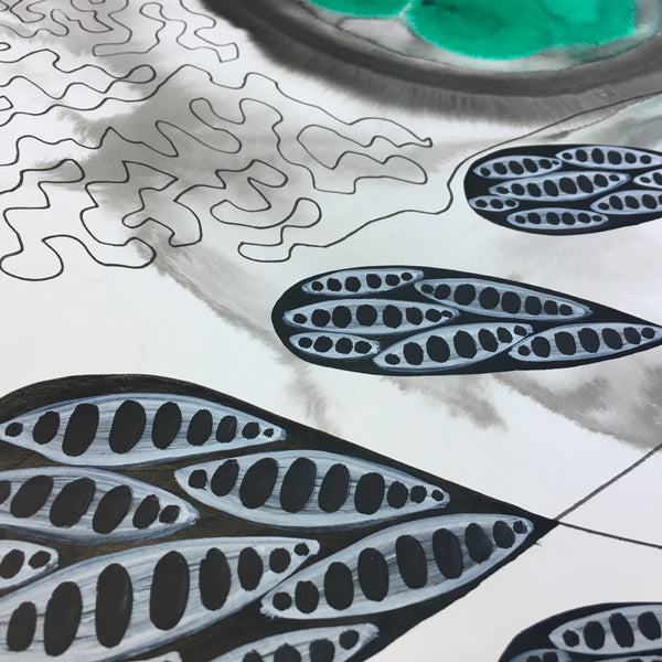 Original Abstract Ink Study Leaf Shape Artwork - Emerald Green, Forest Green Colours
