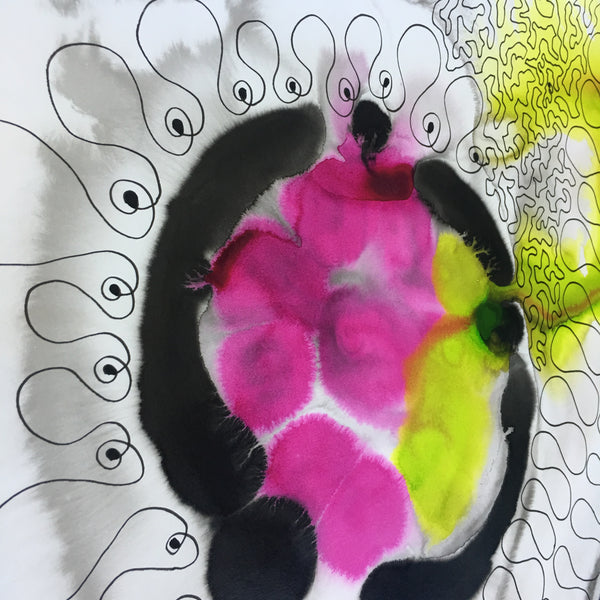 Original Abstract Ink Study Leaf Shape Artwork - Lime Green, Bright Pink Colours