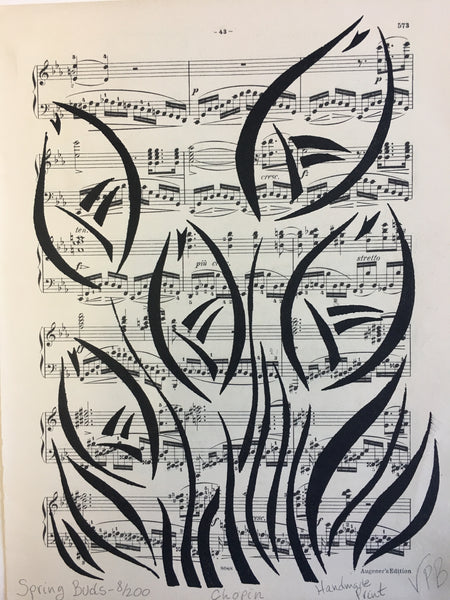 Original Handmade Floral Vintage Music Book Monochrome Art Nouveau Screenprint Flower Artwork - Spring Buds - 8