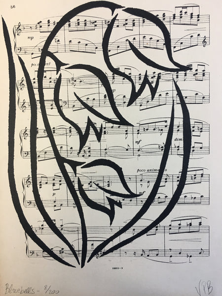 Original Handmade Floral Vintage Music Book Monochrome Art Nouveau Screenprint Flower Artwork - Bluebells - 8