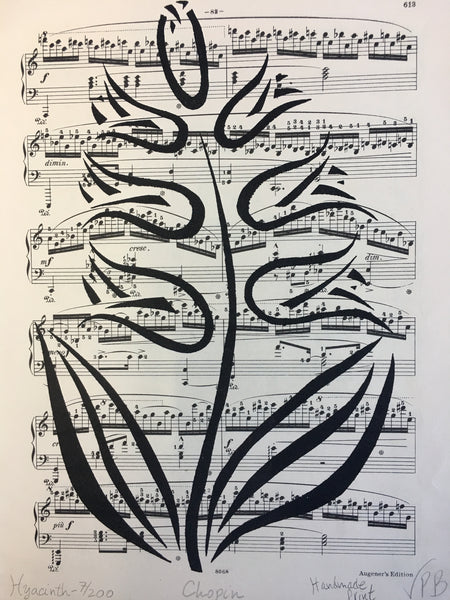 Original Handmade Floral Vintage Music Book Monochrome Art Nouveau Screenprint Flower Artwork - Hyacinth - 7