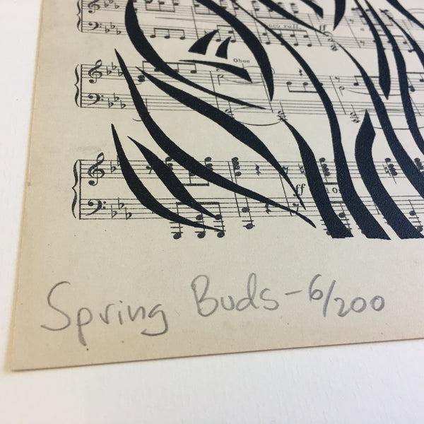 Original Handmade Floral Vintage Music Book Monochrome Art Nouveau Screenprint Flower Artwork - Spring Buds - 6
