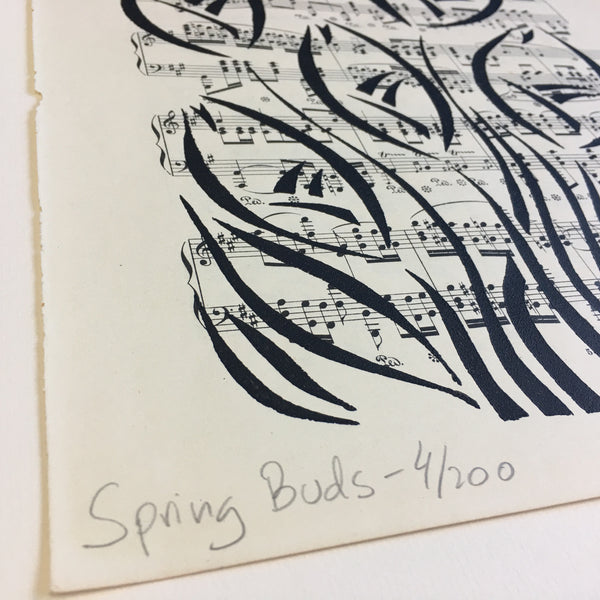 Original Handmade Floral Vintage Music Book Monochrome Art Nouveau Screenprint Flower Artwork - Spring Buds - 4