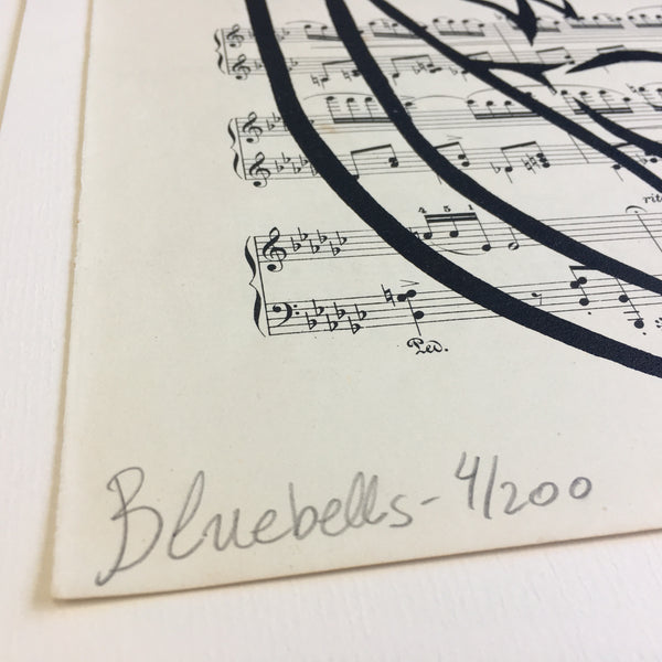 Original Handmade Floral Vintage Music Book Monochrome Art Nouveau Screenprint Flower Artwork - Bluebells - 4