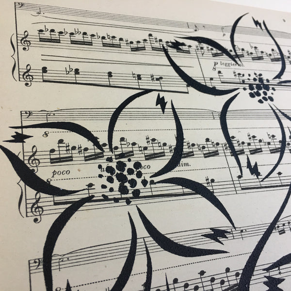Original Handmade Floral Vintage Music Book Monochrome Art Nouveau Screenprint Flower Artwork - Dogwood - 6