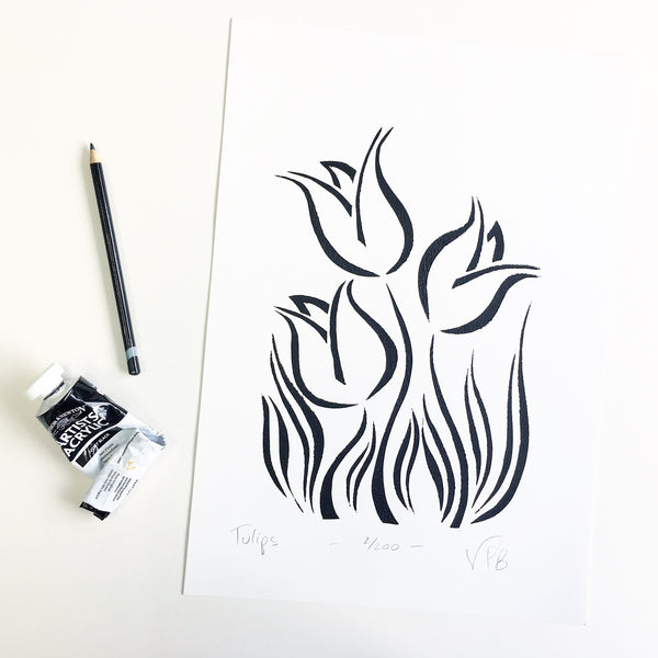 Original Handmade Floral Monochrome Screenprint Limited Edition Flower Artwork - Tulips 2