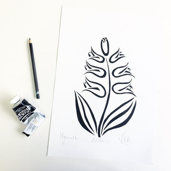 Original Handmade Floral Monochrome Screenprint Limited Edition Flower Artwork - Hyacinth - 2