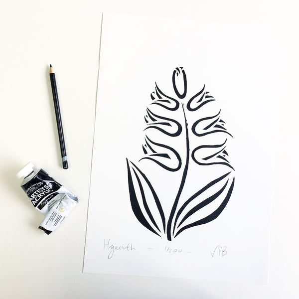 Original Handmade Floral Monochrome Screenprint Limited Edition Flower Artwork - Hyacinth - 1