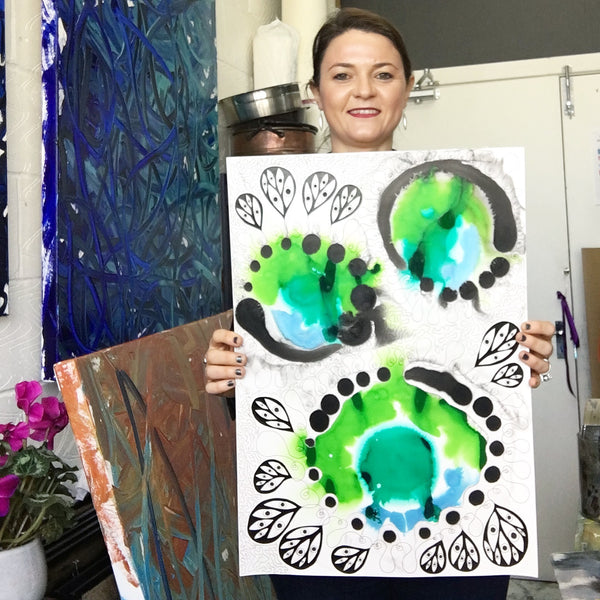 Original Abstract Ink Study Protective Eye Artwork - Light Green, Light Blue, Turquoise Colours