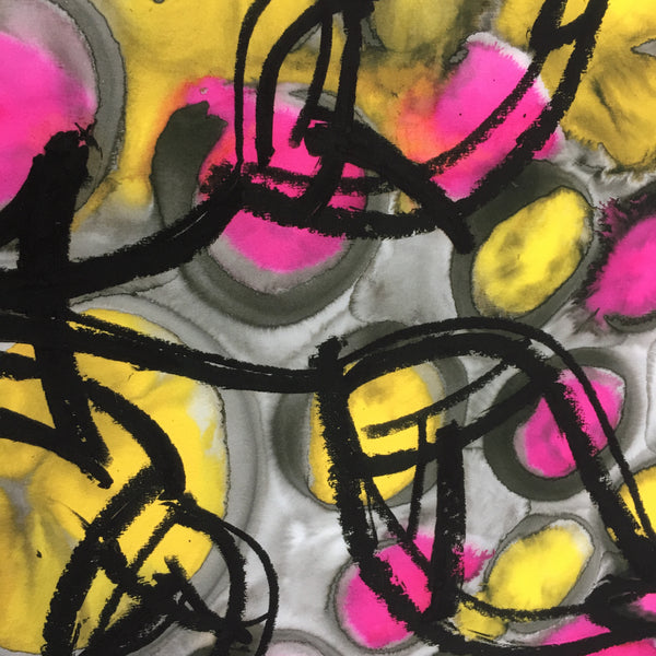 Limited Edition Fine Art Giclee Print Artwork - Pink and Yellow Colours Floral Design
