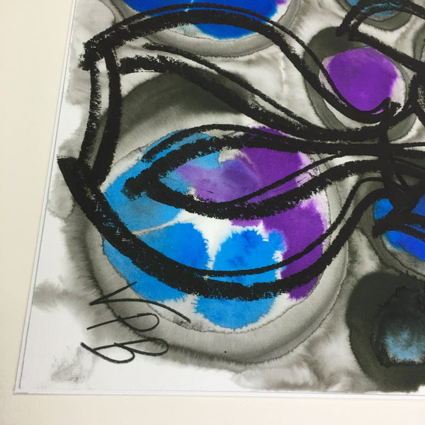 Limited Edition Fine Art Giclee Print Artwork - Purple, Light Blue, Medium Blue Floral Design