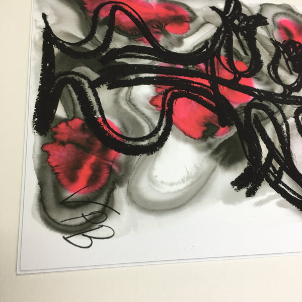 Limited Edition Fine Art Giclee Print Artwork - Red Floral Design