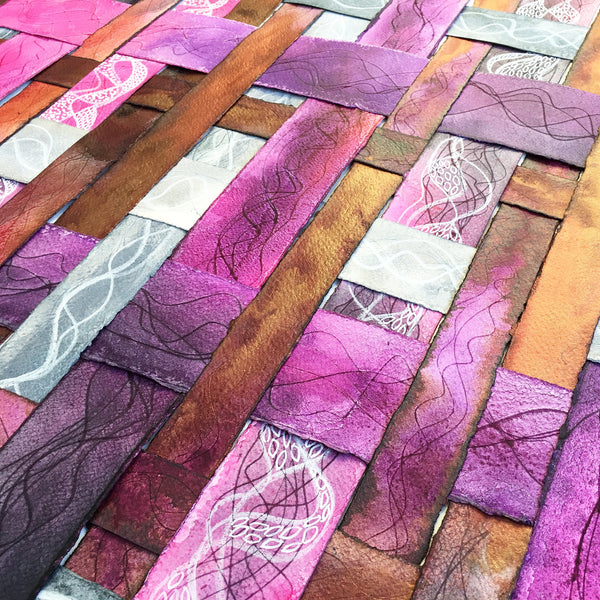 purple, copper and pink textured colourful original art by London abstract artist creating mixed media artwork