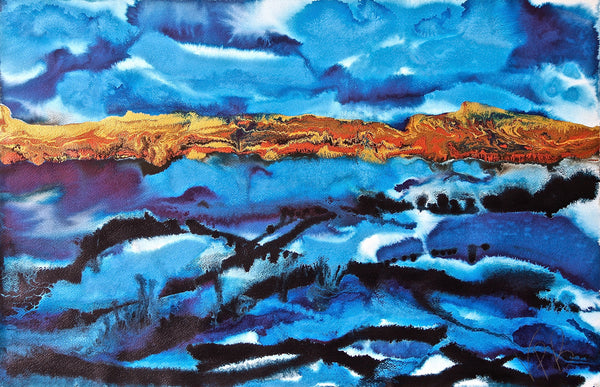 Original Seascape Landscape Colourful / Colorful Modern Contemporary Acrylic and Ink Painting Artwork - Seascape - Deep Sea - Vera Vera On The Wall - Vera Blagev