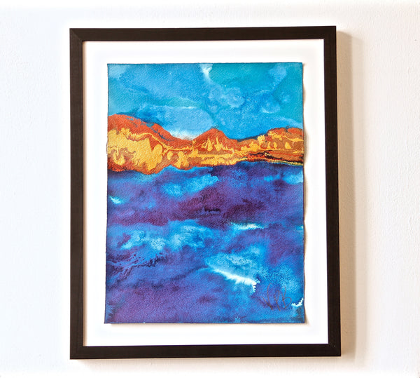 Original Seascape Landscape Colourful / Colorful Modern Contemporary Acrylic and Ink Painting Artwork - Small Seascape - Along The Shoreline - Vera Vera On The Wall - Vera Blagev
