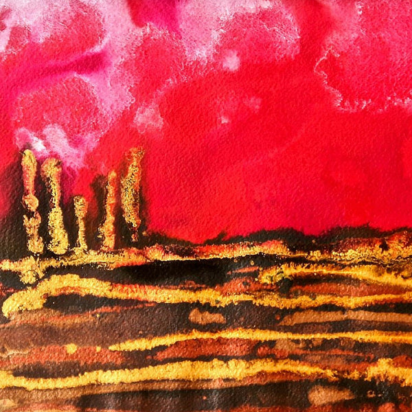 Red Love Small Abstract Landscape Painting