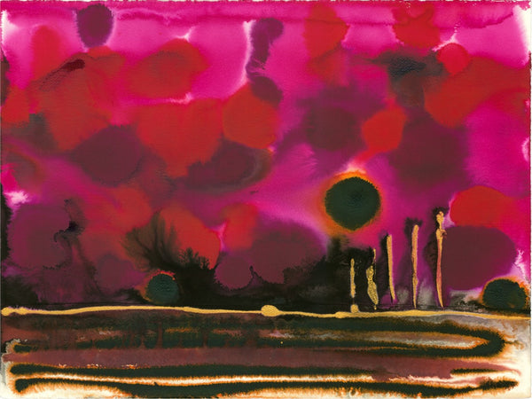 Original Landscape Colourful / Colorful Modern Contemporary Acrylic and Ink Painting Artwork - On The Plain 3 - Garnet Sunset - Vera Vera On The Wall - Vera Blagev