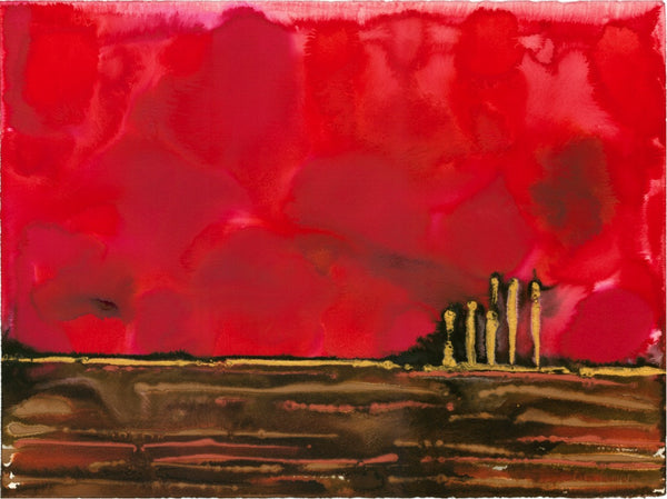 Original Landscape Colourful / Colorful Modern Contemporary Acrylic and Ink Painting Artwork - On The Plain 5 - Ruby Red Night - Vera Vera On The Wall - Vera Blagev