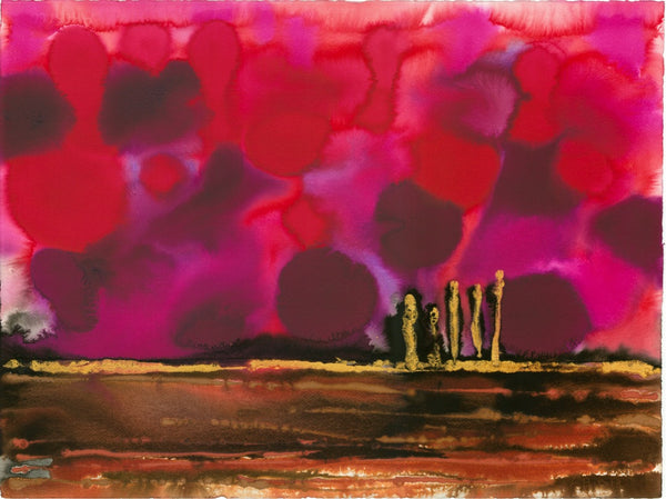 Original Landscape Colourful / Colorful Modern Contemporary Acrylic and Ink Painting Artwork - On The Plain 7 - Magenta Dawn - Vera Vera On The Wall - Vera Blagev