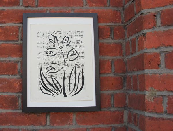 Original Handmade Floral Vintage Music Book Monochrome Art Nouveau Screenprint Flower Artwork - Lily of the Valley - Vera Vera On The Wall - Vera Blagev