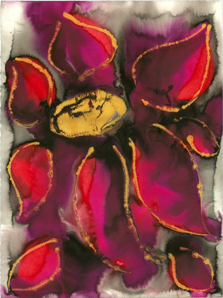 Original Floral Flower Colourful / Colorful Modern Contemporary Acrylic and Ink Painting Artwork - Polypetalous 2 - Simply Fuchsia - Vera Vera On The Wall - Vera Blagev