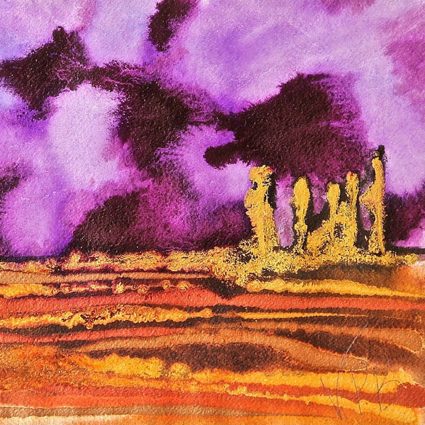 Purple Velvet Small Abstract Landscape Painting