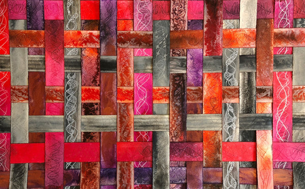 pink, red, and purple textured colourful original art by London abstract artist creating mixed media artwork